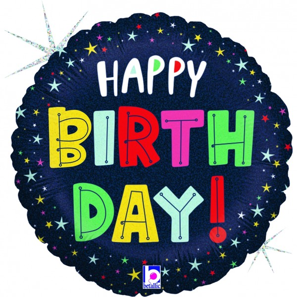 Ballons Hannover - Happy Birthday Folienballon mit Stab