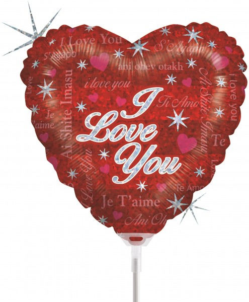 Ballons Hannover - I Love You Herz mit Stab
