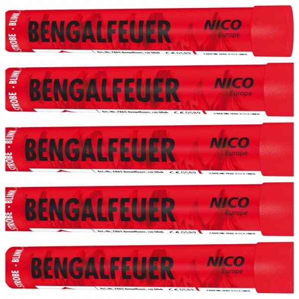 NICO Bengalfeuer Rot Blinkend 5er Paket