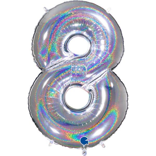 Ballons Hannover - Silber Holographic Zahlenballon